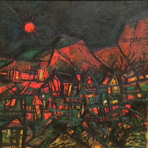 1960 Red Sun, oil paint on board Collection of Jane and Kito de Boer © The estate of F.N. Souza/DACS, London 2018