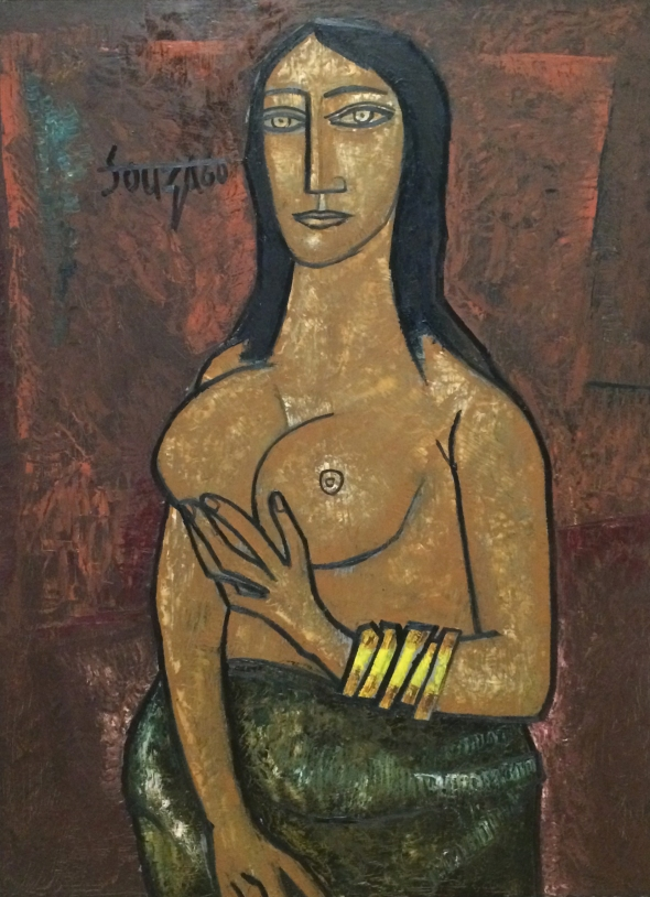 1960 Nude Holding Breasts, oil paint on board Private collection © The estate of F.N. Souza/DACS, London 2018