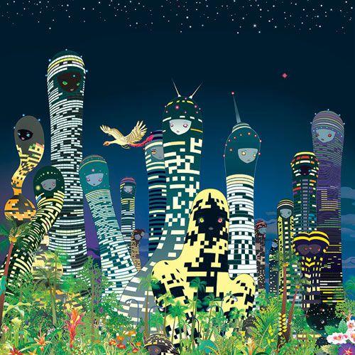 City Glow by Chiho Aoshima, 2005 Chromogenic print 170 × 170 cm ©Chiho Aoshima