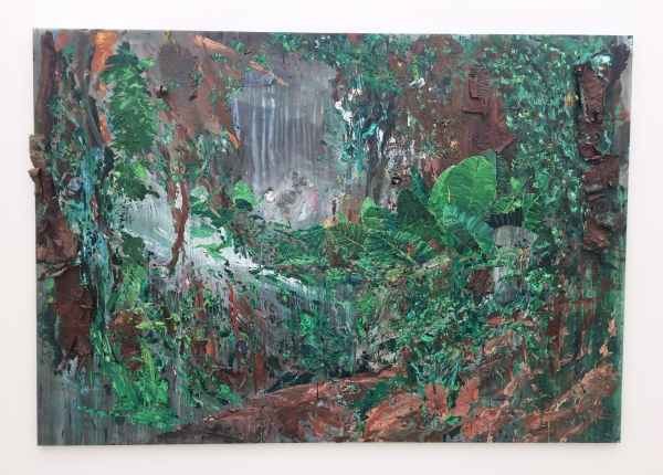 'Dossel Florestal' 2017 Acrylic, Araucaria Angustifolia bark, packaging, paper and polyurethane on canvas, 230 x 330 cm © Willian Santos