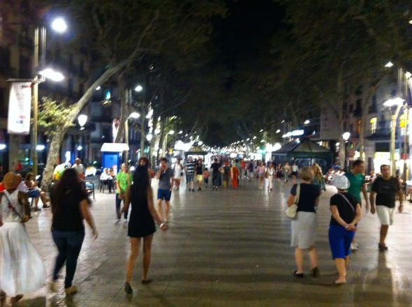 Walking down La Rambla at night