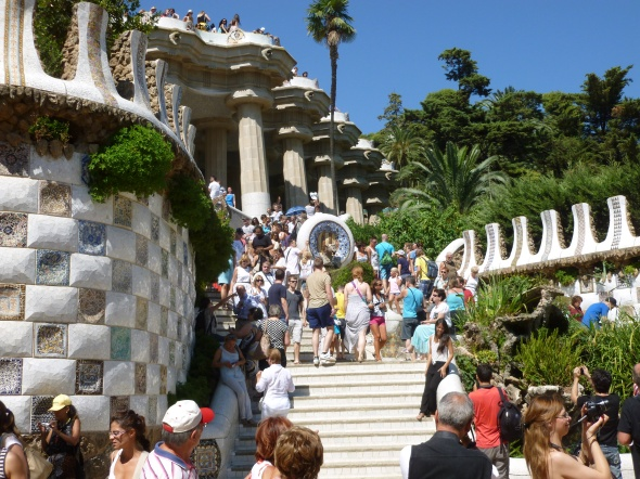 Visitors enjoying Park Güell