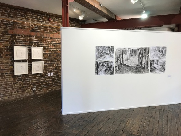 Work by Margaret Proudfoot (left) and Dominic Harbour (right)