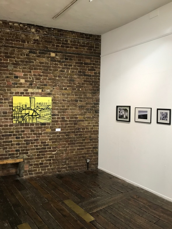 Installation view of work by Stephen Feather (left) and Sharon Pearce (right)
